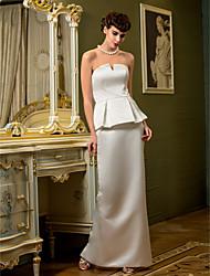 cheap -Sheath / Column Strapless Floor Length Satin Wedding Dress with Draped Split by LAN TING BRIDE®