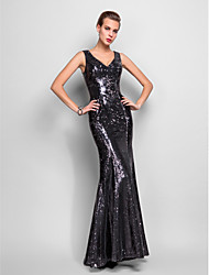cheap -Mermaid / Trumpet V Neck Floor Length Sequined Formal Evening / Military Ball Dress with Sequin Pleats by TS Couture®