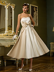 A-Line Princess Sweetheart Tea Length Satin Wedding Dress with Bow by LAN TING BRIDE®