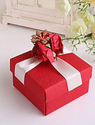 Piazza Rossa di favore Box con fiore rosso e nastro - Set di 12