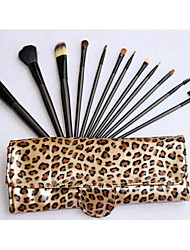 Недорогие -Про Высокое качество 12 шт Природный козьей шерсти набор кистей Макияж с Leopard мешок