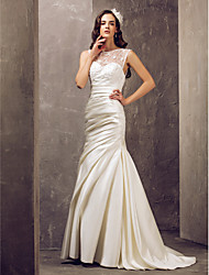 cheap -Mermaid / Trumpet Illusion Neck Sweep / Brush Train Lace / Satin Made-To-Measure Wedding Dresses with Beading / Appliques / Button by LAN TING BRIDE® / See-Through