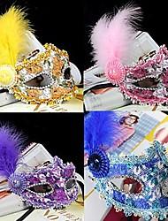 Cosplay Maske Maskerade Unisex Halloween Karneval Silvester Fest/Feiertage Halloween Kostüme Rosa Blau Violett Gelb einfarbig Spitze