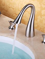 Moderne Diffusion large Jet pluie with  Soupape céramique 3 trous Deux poignées trois trous for  Nickel brossé , Robinet lavabo
