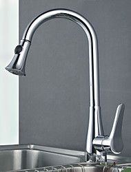 Traditional Pull-out/­Pull-down Deck Mounted Pullout Spray Ceramic Valve One Hole Nickel Brushed , Kitchen faucet