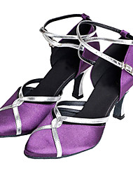 Scarpe da ballo - Non personalizzabile - Donna - Moderno / Sala da ballo - Customized Heel - Satin - Viola