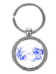 Personalizzata rotonda blu e bianco porcellana stile portachiavi - Double Dragon
