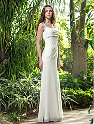 A-Line Square Neck Floor Length Georgette Wedding Dress with Lace Side-Draped by LAN TING BRIDE®