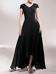 cheap -Sheath / Column V-neck Asymmetrical Chiffon Mother of the Bride Dress with Beading Appliques Ruching by LAN TING BRIDE®
