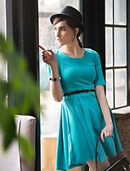billige -Dame I-byen-tøj Bomuld A-linje Skater Kjole - Ensfarvet, Flettet Over knæet Rund hals