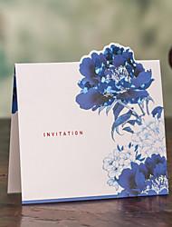 economico -Tema Asian Quadrato Blue & White Wedding Invitation - Set di 50