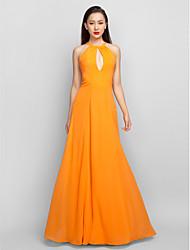 preiswerte -A-Linie Halter Boden-Länge Chiffon Ball Formeller Abend Militär Ball Kleid mit Plissee durch TS Couture®