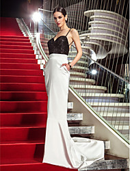 Mermaid / Trumpet Spaghetti Straps Sweep / Brush Train Stretch Satin Sequined Evening Dress with Crystal by TS Couture®