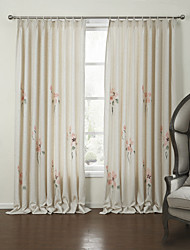 cheap -Two Panels Curtain Country Bedroom Linen Material Curtains Drapes Home Decoration For Window