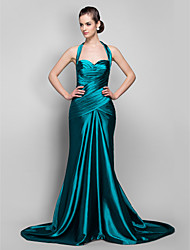 Mermaid / Trumpet Halter Sweep / Brush Train Stretch Satin Formal Evening Military Ball Dress with Criss Cross Ruching by TS Couture®