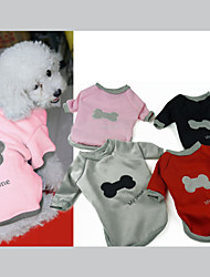 cheap -Dog Sweatshirt Dog Clothes Bone Black Gray Red Pink Cotton Costume For Pets Men's Women's Casual/Daily