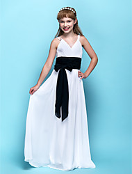 cheap -Sheath / Column V Neck Floor Length Chiffon Junior Bridesmaid Dress with Sash / Ribbon Ruched Criss Cross by LAN TING BRIDE®