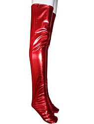 billige -Sokker og Nylonstrømpe Ninja Spandex Heldragt Cosplay Kostumer Rød Ensfarvet Strømper Skinnende Metallisk Herre / Dame Halloween / Høj Elasticitet