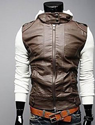 cheap -ZHELIN Knitted Sleeve Short Slim Hooded Leather Coat