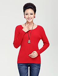 povoljno -Žene Vintage Osnovni Pullover Jednobojni