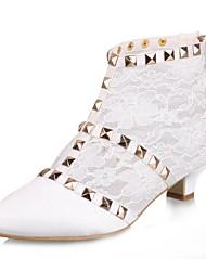 Недорогие -Жен. Обувь Сатин Осень На каблуке-рюмочке Ботинки для Свадьба Слоновой кости Белый