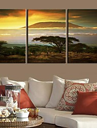 cheap -Stretched Canvas Print Canvas Set Landscape Travel Three Panels Vertical Print Wall Decor Home Decoration