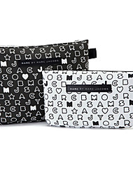 2PCS Black&White Letter Pattern Briefcase Shaped Thicken Make up/Cosmetics Bag Set Cosmetics Storage