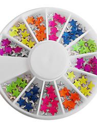 Doces misturados a cores fluorescentes em forma de estrela Decorações Nail Art