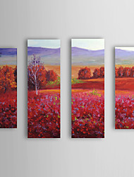 cheap -Hand Painted Oil Painting Landscape Red Field with Stretched Frame Set of 4