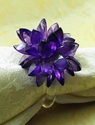 economico -Fiore di cristallo tovagliolo anello, acrilico, 3,5 centimetri, set di 12
