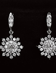 Graceful Platinum Plated With Zircon Snowflake Shaped Women's Drop Earrings
