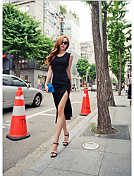 Nightyan Women's Solid Color Split Bodycon Dress