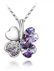 cheap -Women's Four Leaf Clover Basic Fashion Simple Style Pendant Necklace Crystal Rhinestone Platinum Plated Alloy Pendant Necklace , Wedding