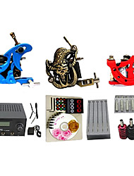 cheap -Starter Tattoo Kits 3 Cast Iron Machine Liner & Shaderr  LCD Power Supply Complete Kit Without Ink