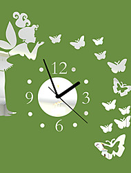 "cheap -20""H Modern Style Angle Butterfly Mirror Wall Clock Wall Clocks"