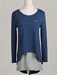 T-shirt Da donna Per tutte le stagioni,Collage Rotonda Cotone Blu Manica lunga Medio spessore