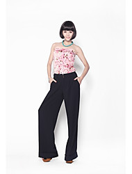 baratos -Das Zoely Mulheres doce Strapless Contraste Cor Floral Imprimir mangas Excluir Belt macacões vermelhos 101122I006