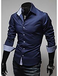 Недорогие -Муж. Рубашка Однотонный Темно-синий / Длинный рукав
