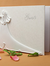 cheap -Bride and Groom De Sign Wedding Guest Book in White Resin Sign In Book