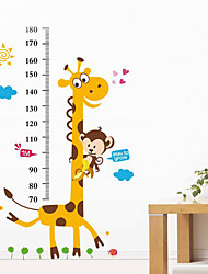 Giraffe Wallpaper Animal Cartoon Measuring Height Stickers Removable Children Kid Bedroom