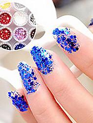 1PCS Hexagonal Tabletten Glitter Nail Art Dekorationen NO.1-6 (verschiedene Farben)