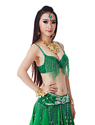 Belly Dance Tops Women's Performance Polyester Tassel(s) Sequins 1 Piece Natural Top