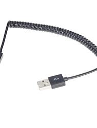 Недорогие -Спиральный USB 2.0 кабель для зарядки/ для передачи данных (1M, черный)