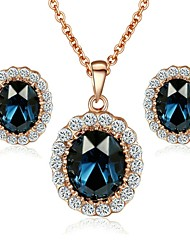 cheap -Women's Crystal / Gold Plated Jewelry Set Earrings / Necklace - Fashion Dark Blue / Red / Green For Wedding / Party / Daily