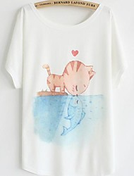 Damen Druck Einfach Niedlich Lässig/Alltäglich T-shirt,Rundhalsausschnitt Sommer Kurzarm Baumwolle Dünn