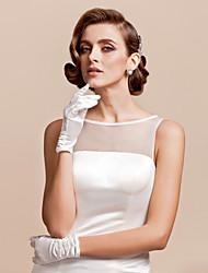 Wrist Length Fingertips Glove Satin Bridal Gloves Spring Summer Fall Ruffles