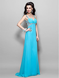 cheap -A-Line Princess Sweetheart Straps Floor Length Chiffon Prom Dress with Beading by TS Couture®