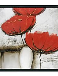 Pittura floreale Red Flower Art Oil cornice