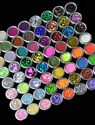 72-Color Polvere Glitter Nail Art Decorazioni