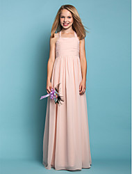 Sheath / Column Halter Floor Length Chiffon Junior Bridesmaid Dress with Ruching by LAN TING BRIDE®